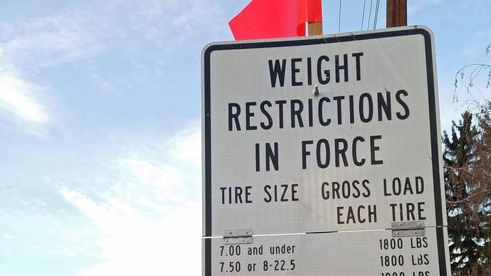 Seasonal weight restrictions now on some county roads image